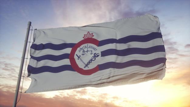 Cincinnati city of ohio flag waving in the wind, sky and sun background. 3d rendering