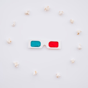 Cinema 3d glasses with popcorns