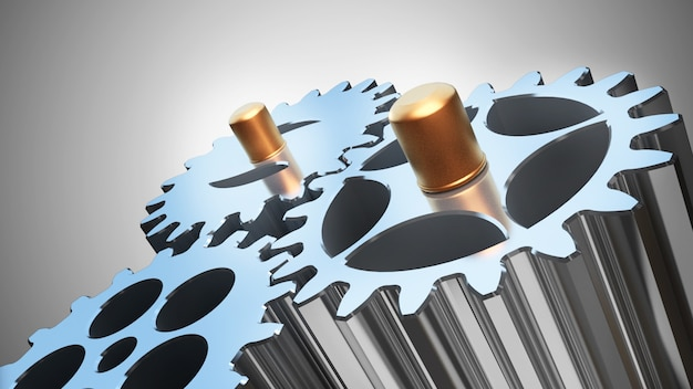 Cinema 4d rendering of abstract background transition three gears together