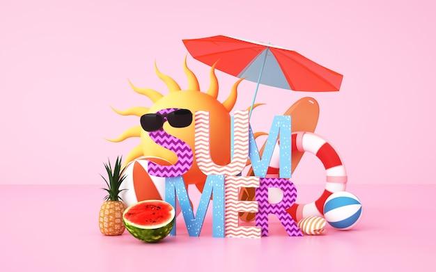 휴가 용품과 여름 배경의 시네마 4d 렌더링 배경