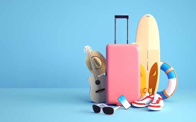 Cinema 4d rendering background of summer background with holiday equipment