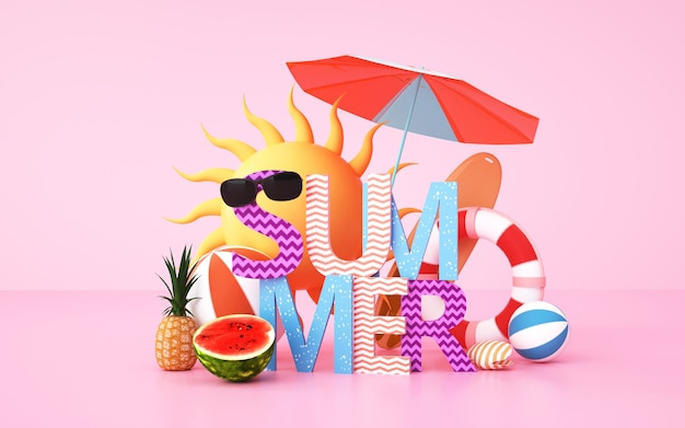 Cinema 4d rendering background of summer background with holiday supplies