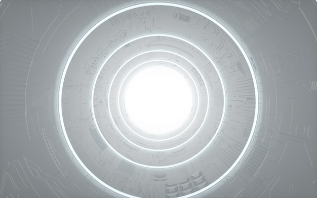 Cinema 4d rendering of circular background with white lights for display mockup