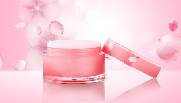 Cinema 4d rendering of cosmetic cream with a pink background display mockup