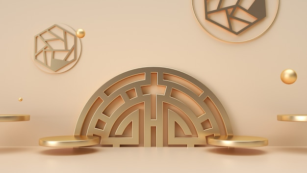Cinema 4d rendering of geometric shape background with golden chinese style podium