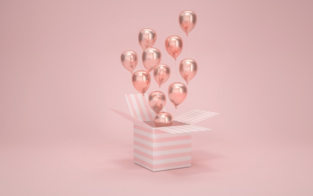 Cinema 4d rendering of gift box with balloons on pink background