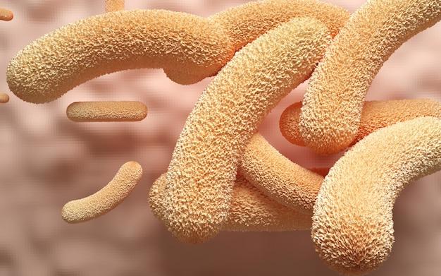 Cinema 4d rendering of illustration of bacterial viruses in the body