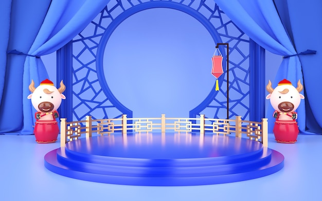 Cinema 4d rendering of a light blue background platform with chinese style decorations