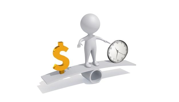 Cinema 4d визуализация человеческой иллюстрации денег и времени