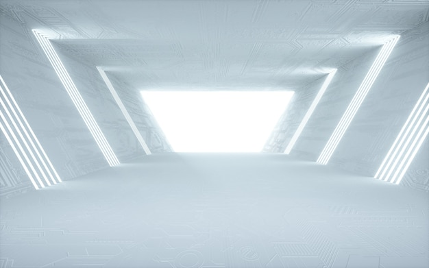 Cinema 4d рендеринг абстрактного фона комнаты с белыми огнями для макета дисплея