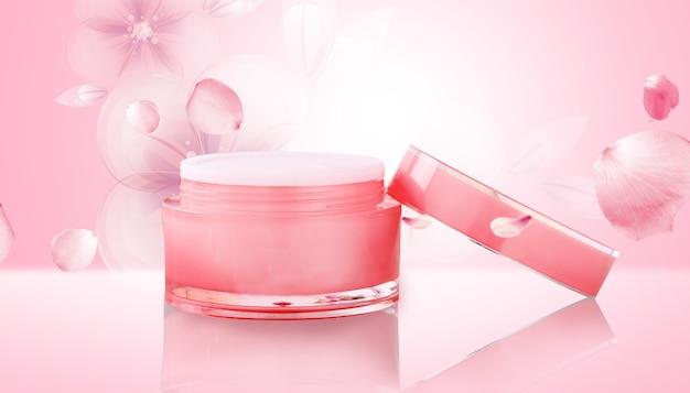 분홍색 배경 디스플레이 모형과 화장품 크림의 시네마 4d 렌더링