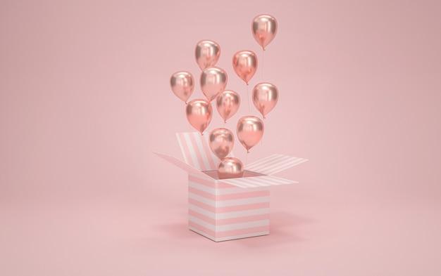 분홍색 배경에 풍선 선물 상자의 영화 4d 렌더링
