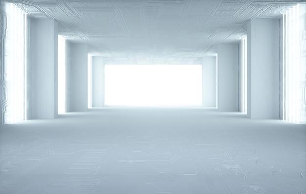 디스플레이 모형을위한 흰색 조명이있는 사각형 방 배경의 영화 4d 렌더링