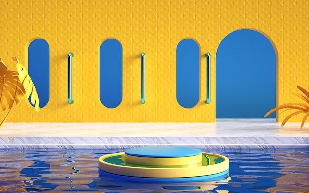 수영장과 광고 제품을 위한 연단이 있는 여름 배경의 시네마 4d 렌더링