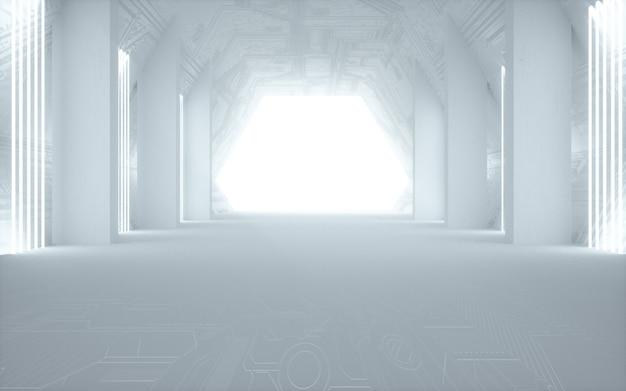 디스플레이 모형에 대한 조명과 흰색 추상 방 배경의 영화 4d 렌더링