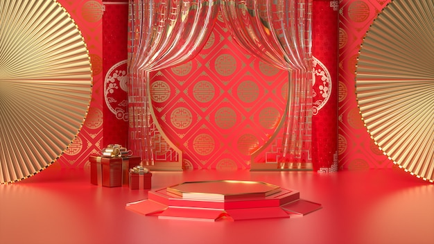 Cinema 4d rendering of a red background platform with chinese style decorations