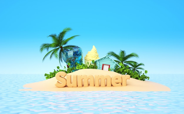 Cinema 4d rendering of summer background on the beach