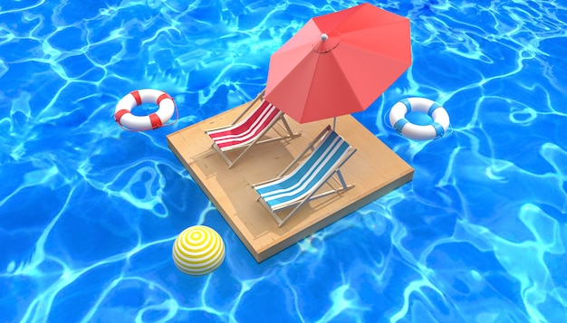 Cinema 4d rendering of summer background relaxing by the pool