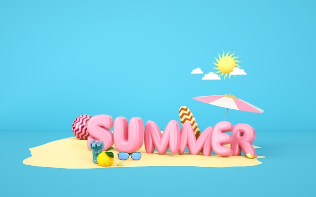 Cinema 4d rendering of summer background on the sand beach