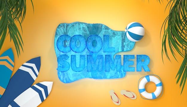 Cinema 4d rendering of summer background