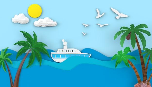 Cinema 4d rendering of summer sea water illustration background