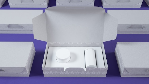Cinema 4d rendering of white cosmetic cream box for mockup display