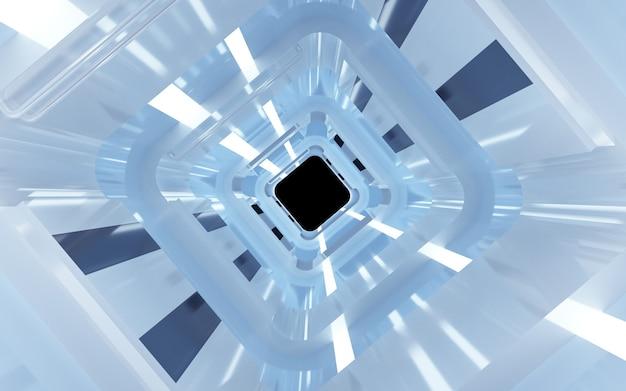 시네마 4d 렌더링 디스플레이 모형을위한 네온 블루 라이트가있는 마름모 터널 배경
