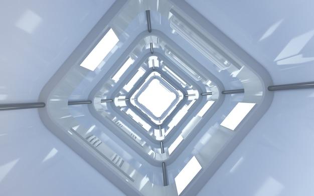 시네마 4d 렌더링 디스플레이 모형을위한 네온 백색광이있는 마름모 터널 배경