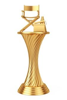 Концепция кинопремии. стул директора трофея золотой награды, хлопушка кино и мегафон на белой предпосылке. 3d-рендеринг.