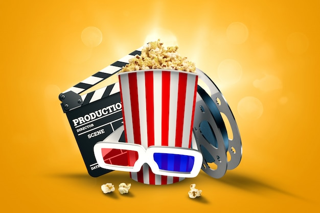 Cinema, cinema attributes, cinemas, films, online viewing, popcorn and glasses.