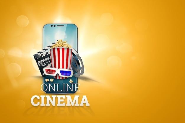 Cinema, cinema attributes, cinemas, films, online viewing, popcorn and glasses.