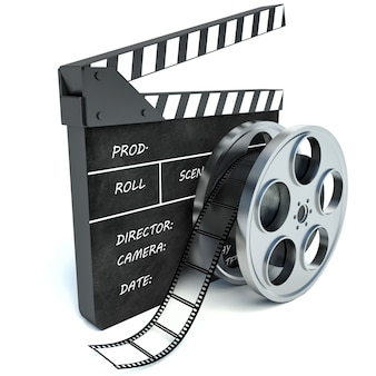 Cinema clap and film reel over white background