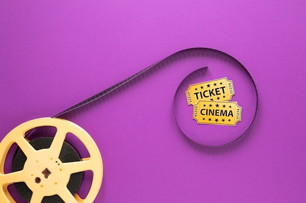 Cinema elements on purple background