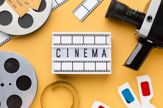 Cinema elements on yellow background