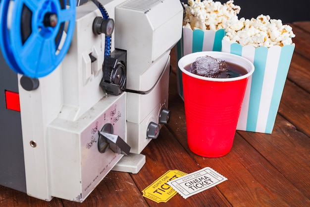 Cinema food near movie projector