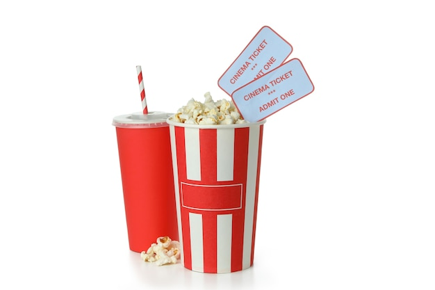 Cinema food with tickets isolated on white background.