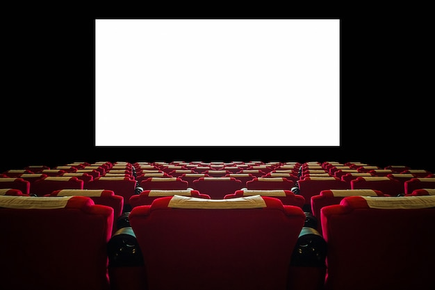 Cinema hall with red seat and wide white screen