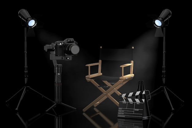 Cinema industry concept. dslr or video camera gimbal stabilization tripod system near director chair, movie clapper and spotlights on a black background. 3d rendering