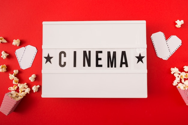 Cinema lettering on red background