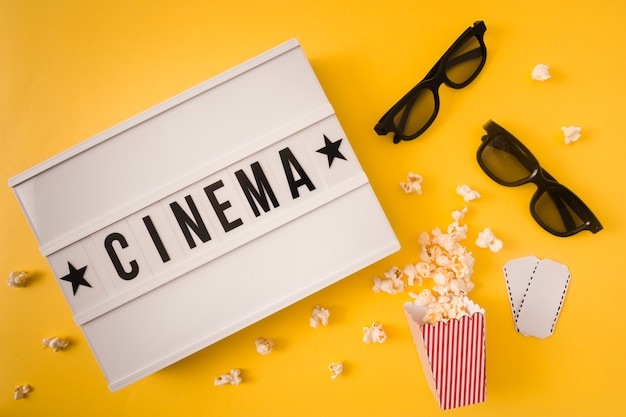 Cinema lettering on yellow background