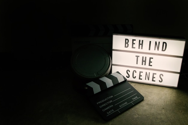 The cinema light box in dark tone film content.
