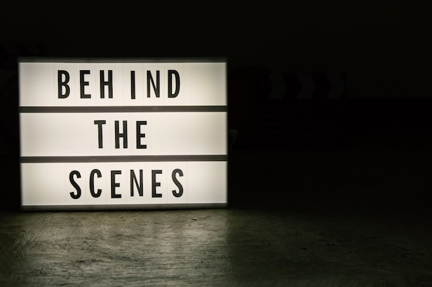 The cinema light box in dark tone film content.