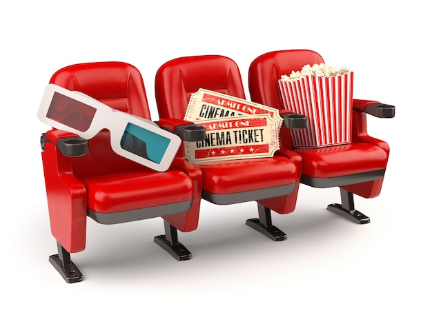 Cinema movie concept. red seats with tickets, popcorn and 3d glasses isolated on white.