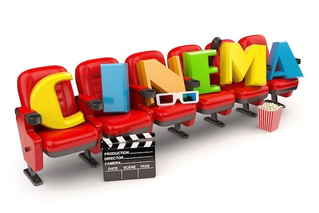 映画、映画、またはビデオのコンセプト。ポップコーム、グラス、カチンコが白で隔離された座席の列。 3d