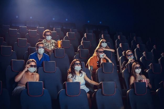 Cinema movie theatre during quarantine coronavirus pandemic safety rules social distance during