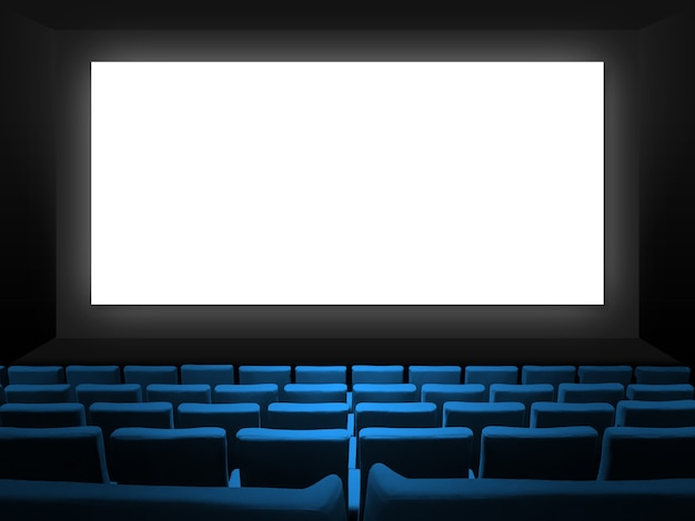 블루 벨벳 좌석과 빈 흰색 화면이있는 시네마 영화관. 공간 배경 복사