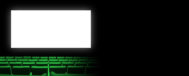 녹색 벨벳 좌석과 빈 흰색 화면이있는 시네마 영화관. 공간 배경 복사. 가로 배너