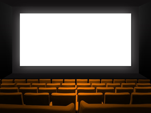 Cinema movie theatre with orange velvet seats and a blank white screen. copy space background