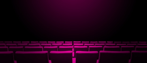 Cinema movie theatre with pink seats rows and a black