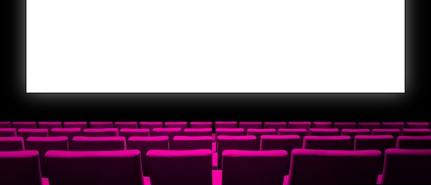 Cinema movie theatre with pink velvet seats and a blank white screen. copy space background.